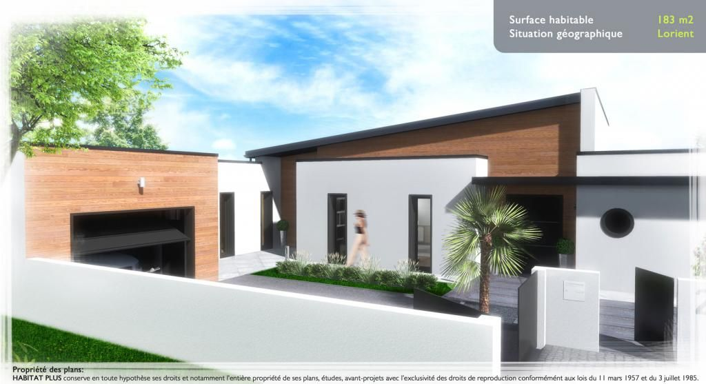 Modèle Eco-Concept  maison moderne à étage de 100m2 avec piscine 2 - comment calculer surface habitable maison