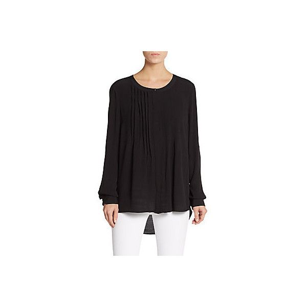 Daniel Rainn Pintucked Hi-Lo Blouse ($30) ❤ liked on Polyvore featuring tops, blouses, black, scoopneck top, scoop neck top, long tops, daniel rainn blouse and scoop neck blouse