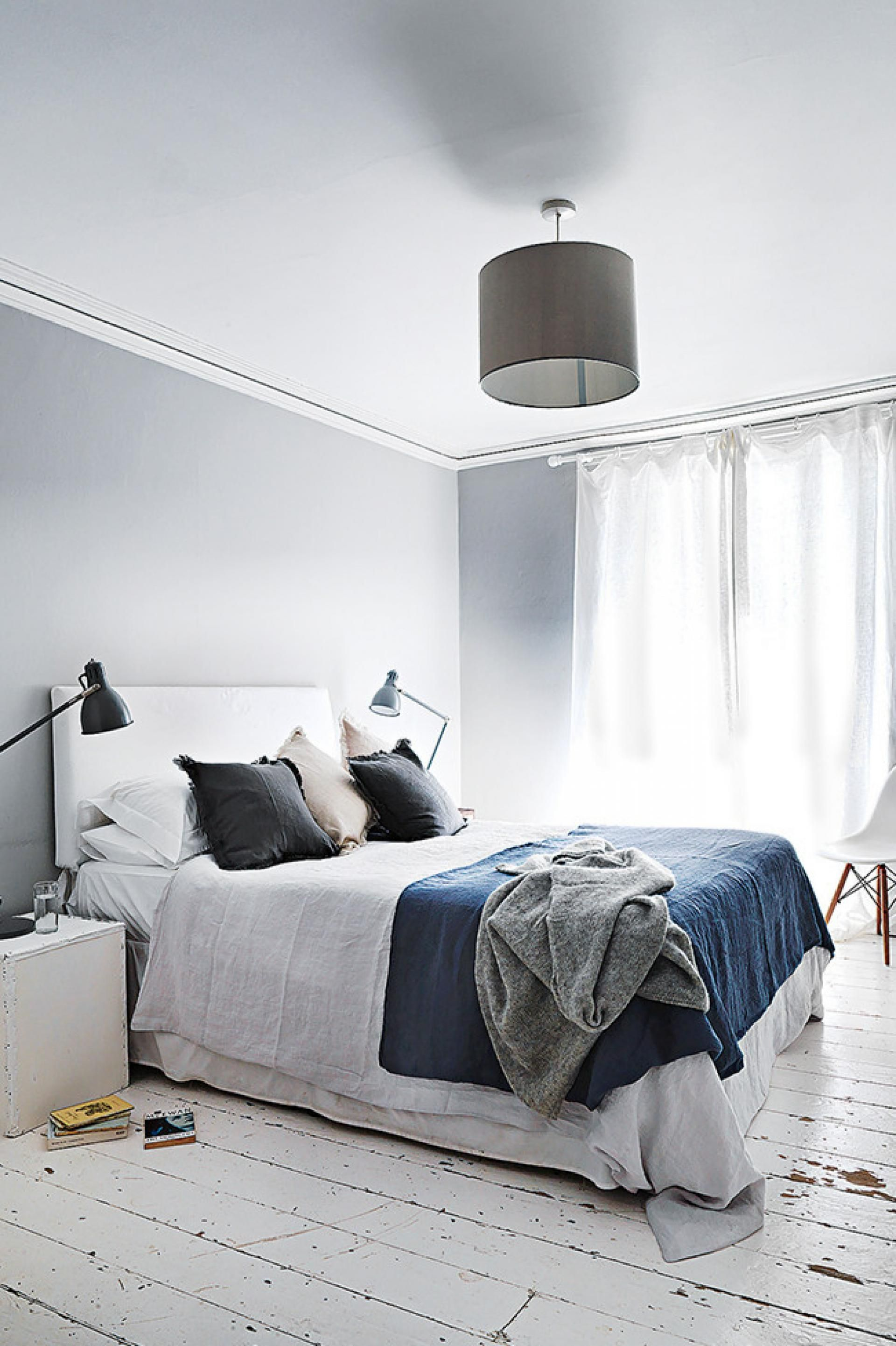Grey Bedroom White Floorboards