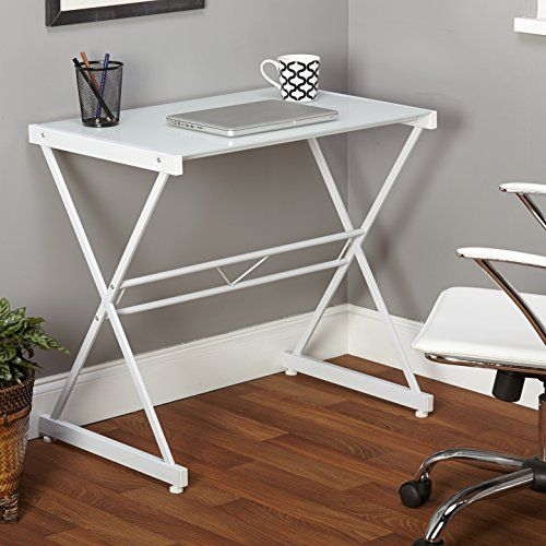 Simple Living White Ava Glass Computer Writing Student Desk Simple