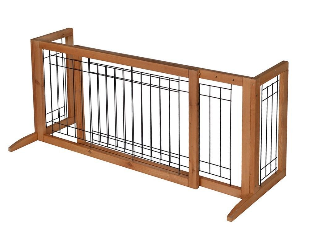 Adjustable Indoor Solid Wood Construction Pet Fence Gate Free ...