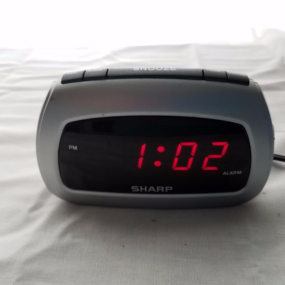 Sharp Red LED Digital Alarm Clock Electric W/Battery Backup