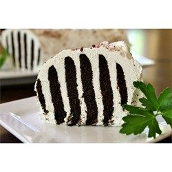 This classic icebox cake layers chocolate cookies with whipped cream to form a black and white striped cake when sliced.