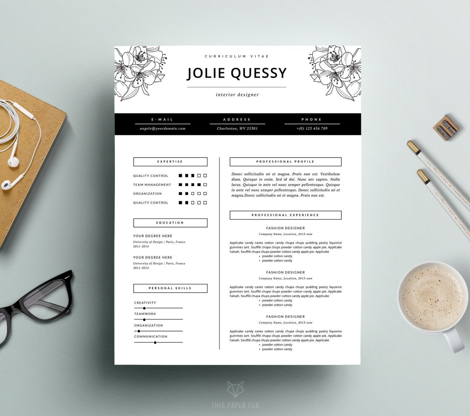 feminine resume   stylish resume template   cover letter