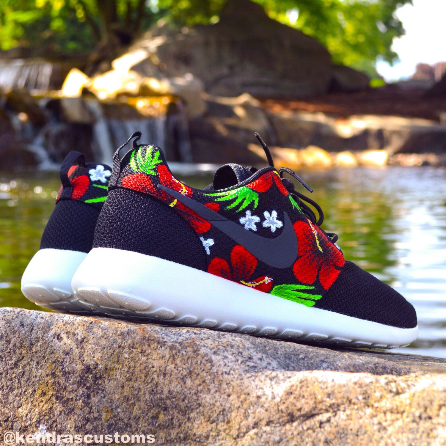 cbc534984727c Roshe Aloha Hawaiian Floral Custom Hand Painted Mens Size 11 Nike Rosherun  Shoes for only  200.00