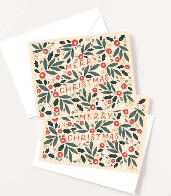 Illustrated Christmas Cards | Floral Hand Lettered Holiday Card Set of 10, Folk Christmas Card Set