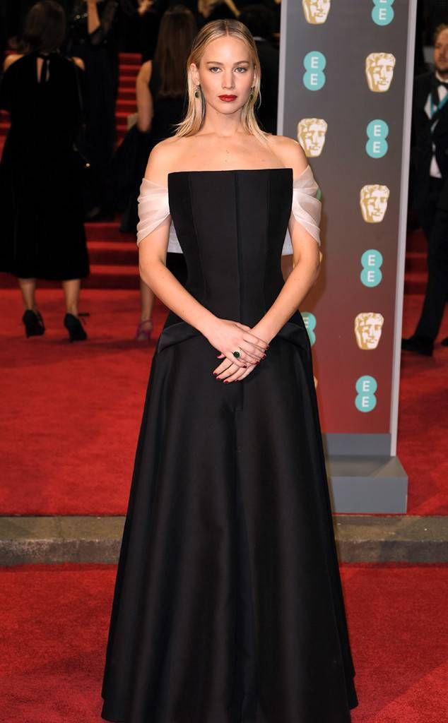 Jennifer Lawrence wearing a Christian Dior gown at the 2018 BAFTAs ...