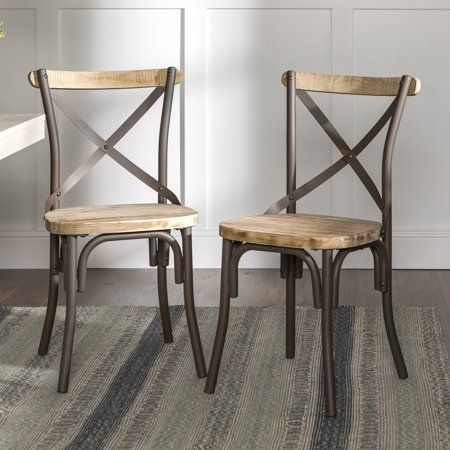 Stupendous Walker Edison Rustic Reclaimed Solid Wood Dining Chairs Set Machost Co Dining Chair Design Ideas Machostcouk