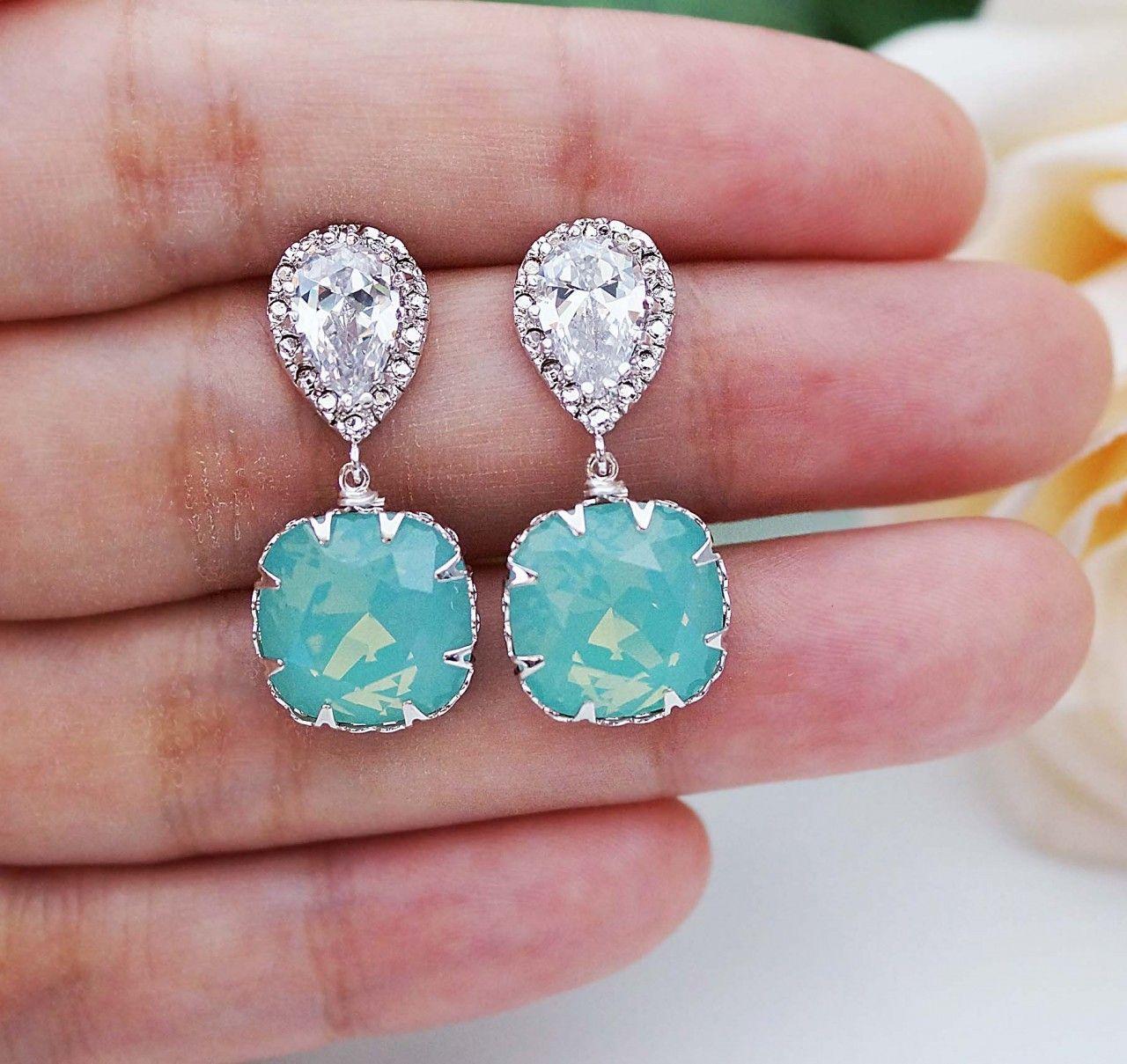 Sea Foam Mint Pacific Opal Swarovski Square Crystal Jewelry Set - Earrings Nation