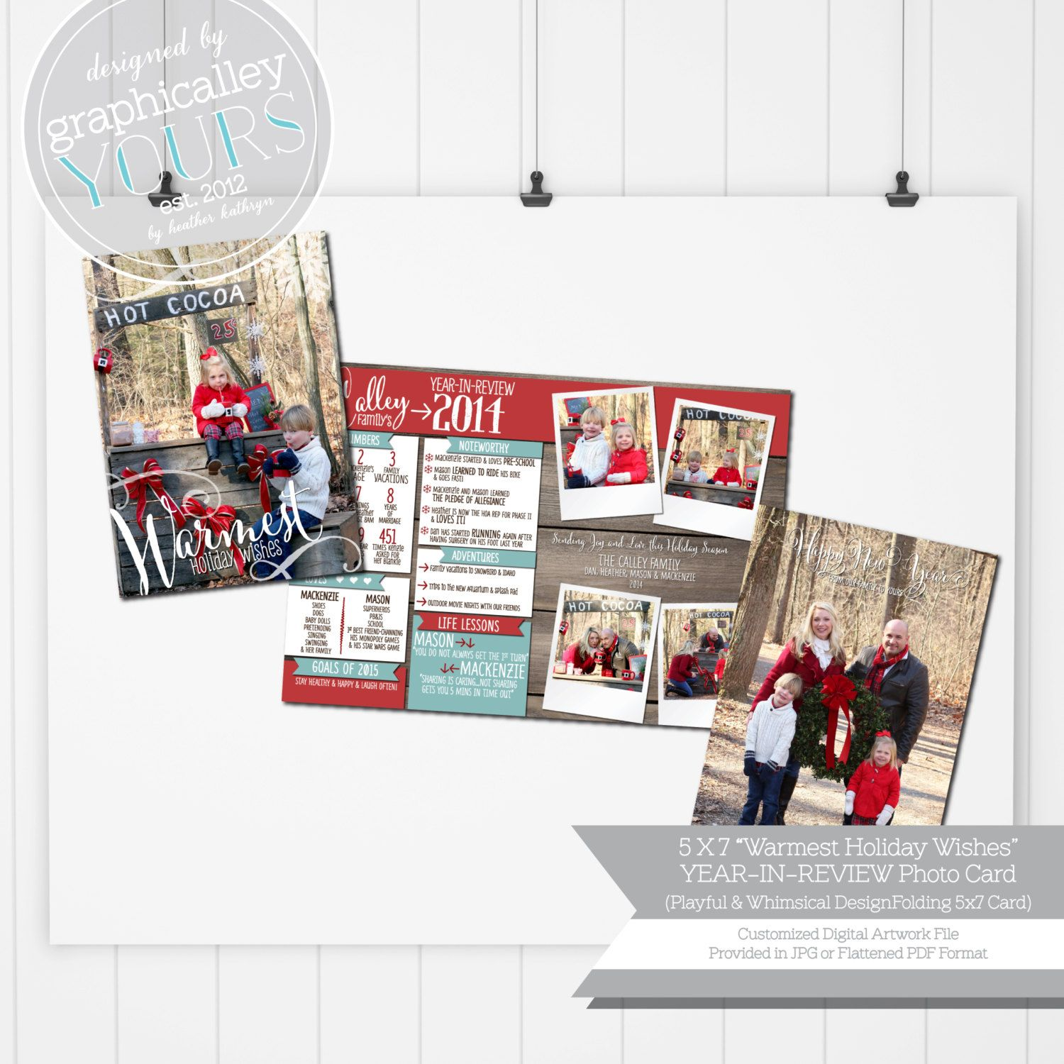 Warmest Holiday Wishes - YEAR-IN-REVIEW Full Spread - 5x7 Christmas ...