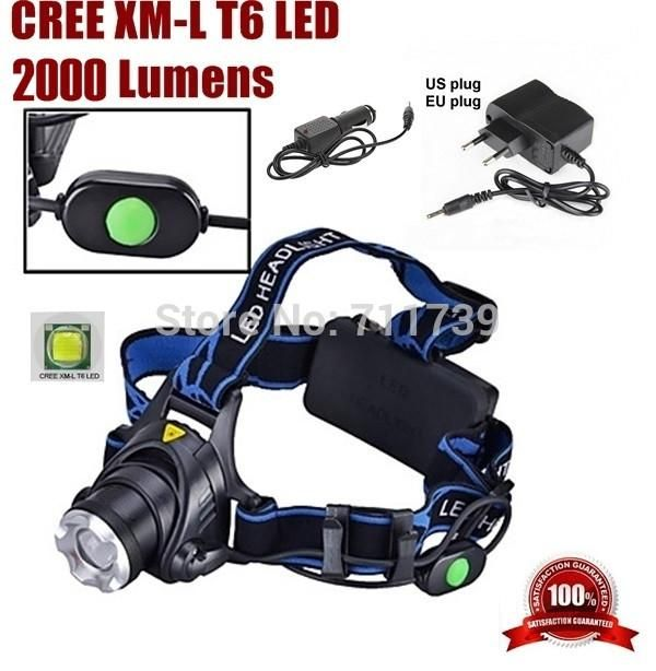 HP88 CREE XM-L XML T6 LED 2000LM ZoomHead light CREE LED Headlamp light For 2x18650 Battery(not include) +Charger/Car charger