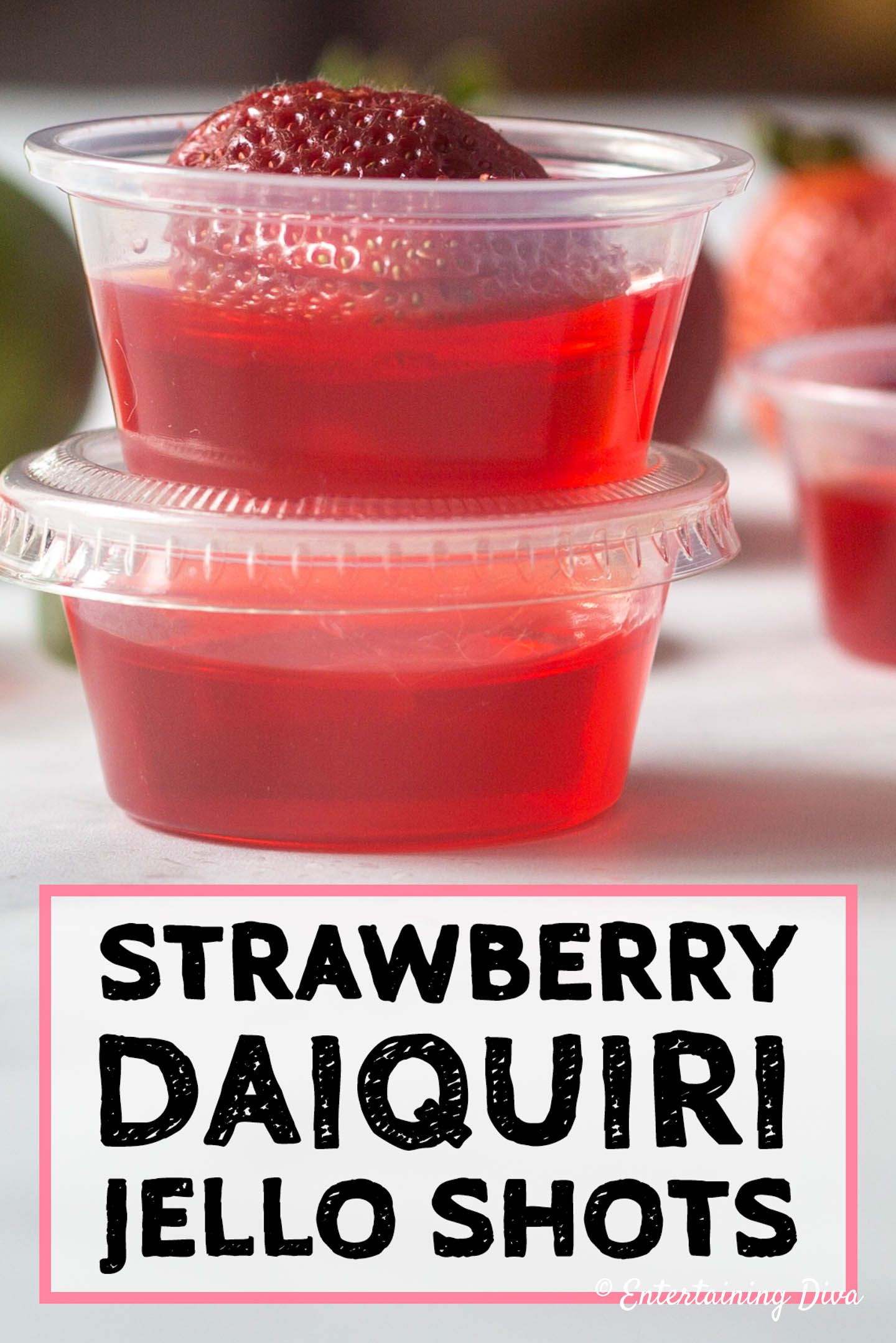 Very Berry Strawberry Daiquiri Jello Shots - Entertaining Diva Recipes @ From House To Home