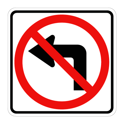 No Turn To Left Parking Signs Traffic Signs U Turn