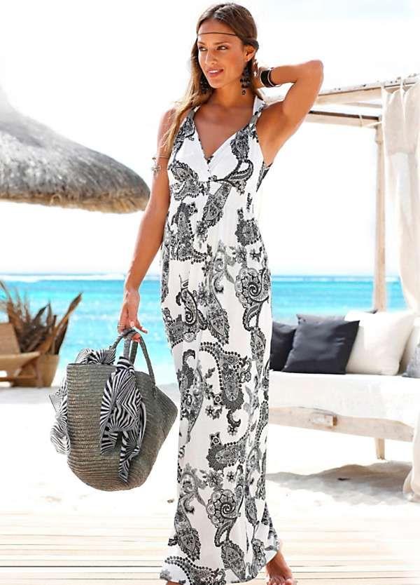 811a785be4f86 Black Printed Maxi Dress by LASCANA   Elbiseler   Beach dresses ...