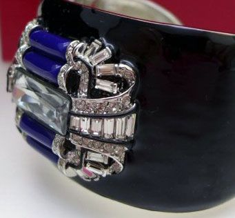 KJL (Kenneth Jay Lane) - Créateur de Bijoux - Vintage - Bracelet 'Art Déco' - Lapis Lazuli Imitation - Années 70
