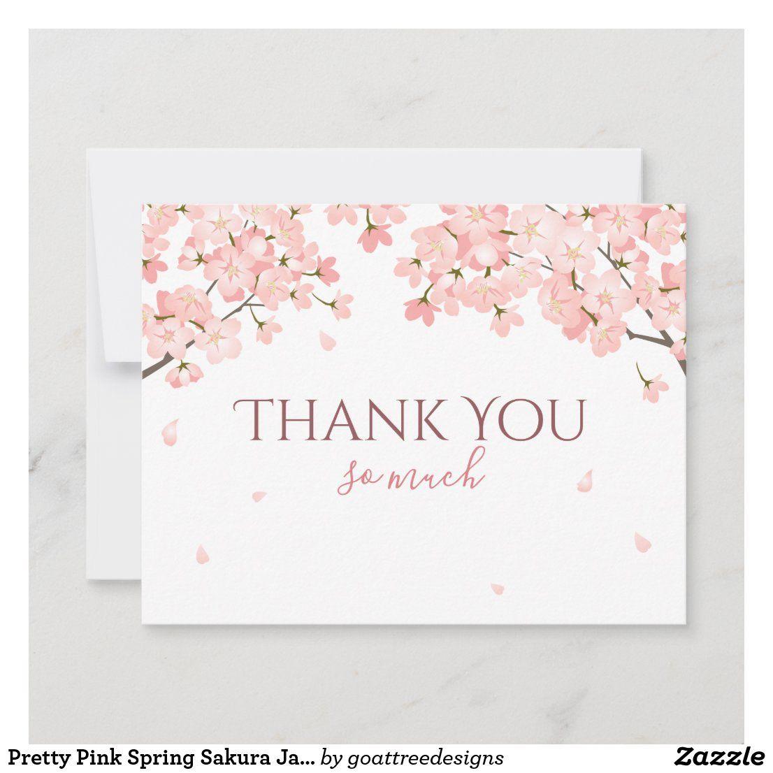 Pretty Pink Spring Sakura Japanese Cherry Blossoms Thank You Card Zazzle Com Japanese Cherry Japanese Cherry Blossom Pink Spring