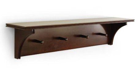 Amazon.com: Ukid Classic Wood Wall Shelf with 4 Pegs, Chocolate Finish: Home & Kitchen