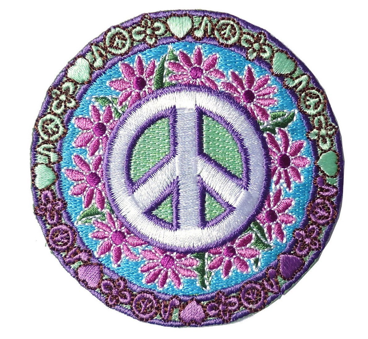 Peace Love Hippie Flower Green Car Iron On Patch Applique 1 Inch