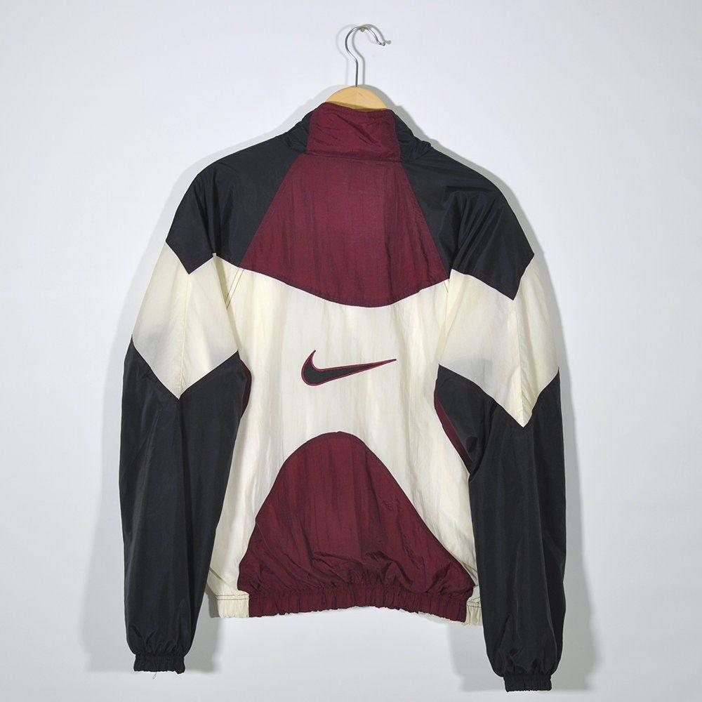 Nike Vintage 90s Nike Tracktop Windbreaker Jacket Multi Color Block Maroon Black Beige Nike Big Logo Size L Large In 2020 Vintage Nike Windbreaker Windbreaker Outfit Vintage Nike