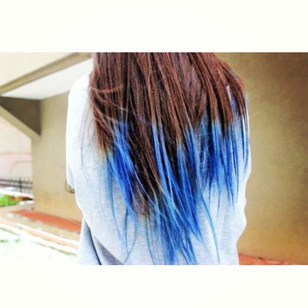 Blue dip dye with brown hair. I need to try that!