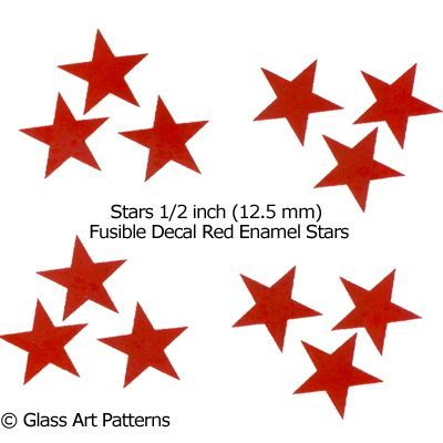 LOW to HI FIRE Colored Decal: Stars Red Enamel 1/2 inch Qty 24 (Fused Glass Decals)