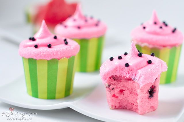 Watermelon Cupcakes with Sweet Watermelon Buttercream. I would make them with green frosting though.