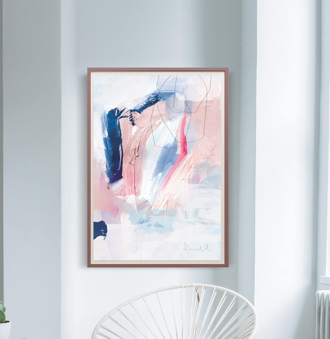 Printable Abstract Art, Navy Blue And Pink Art, Instant