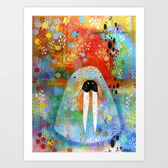 Walrus Print, Original Artwork, Animal Print, Children's Art, Colorful Art, Alaskan Art, Unusual Art, Outsider Art, Folk Art