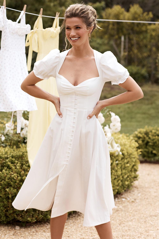 Clothing Maxi Dresses Ellery White Linen Puff Sleeve Midi Sundress Dresses Fit And Flare Dress Fashion [ 1500 x 1000 Pixel ]