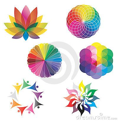Set Of Color Wheels Lotus Flower Rainbow Colors
