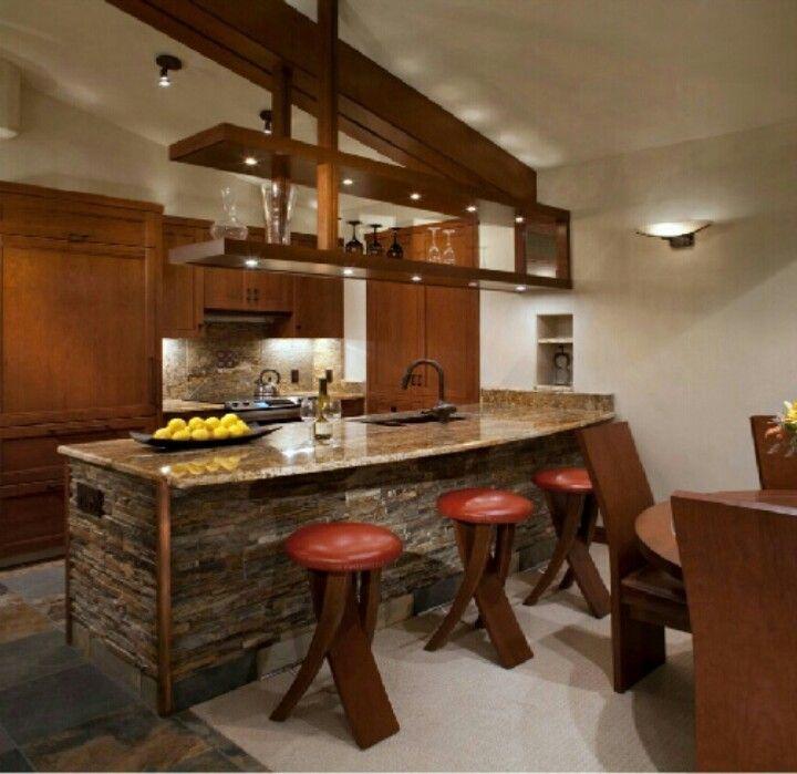 cocinas integrales modernas para casas pequeñas color chocolate ...