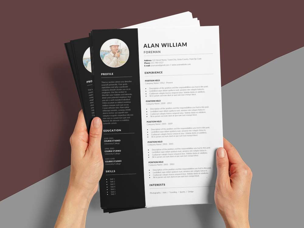 Free Foreman Cv Resume Template Resume Template Resume Template Free Clean Resume Template