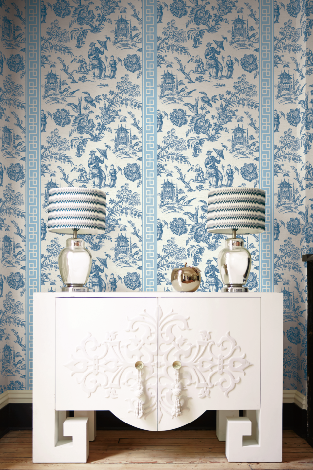 Scenic Greek Key in Blue from Wallquest's Chinoiserie
