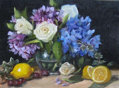 """Hydrangeas & White Roses"", 12 x 16 Oil Painting by Pat Fiorello, 600 http://patfiorello.blogspot.com/#"