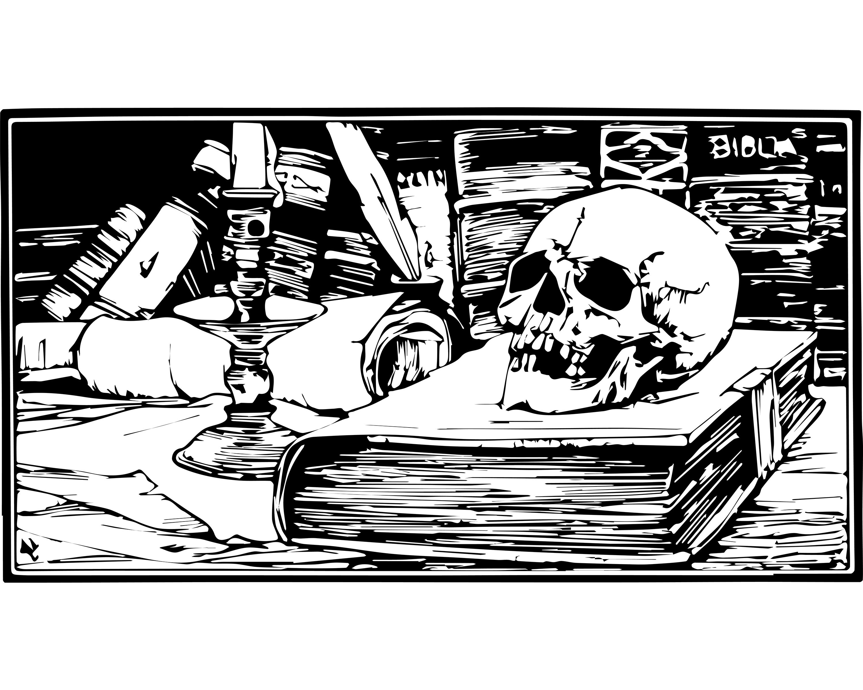 FREE Skull Books and Candle Halloween