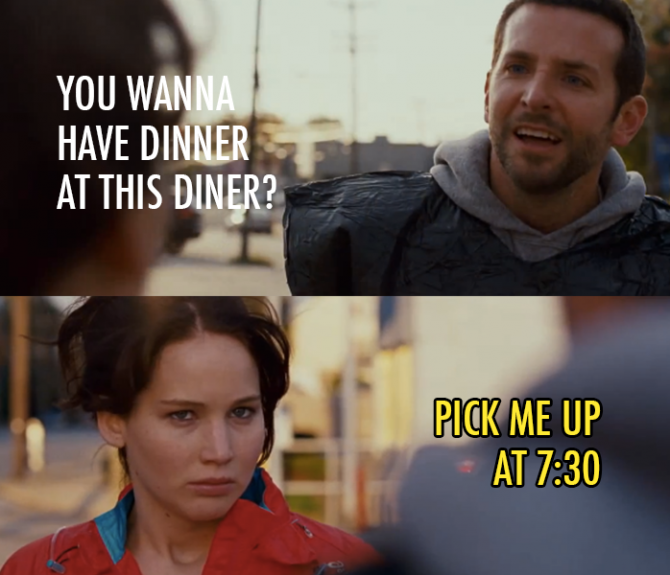 Pat: You wanna have dinner at this dinner? Tiffany: Pick ...