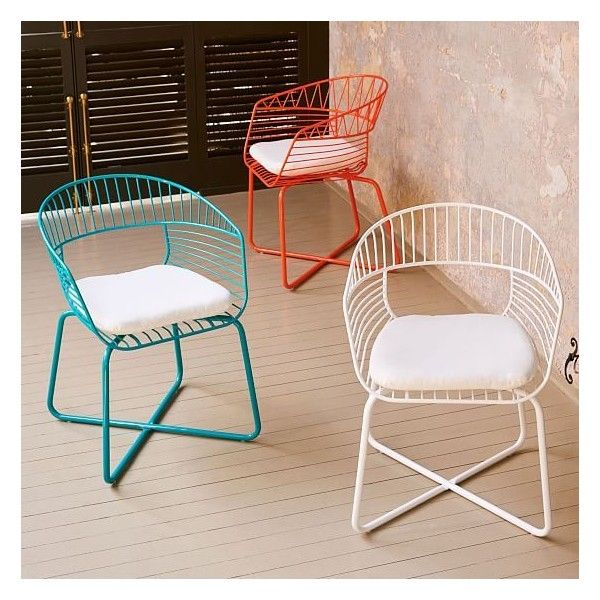 white metal patio chairs. West Elm Soleil Metal Bistro Chair, White ($119) ❤ Liked On Polyvore Featuring Home, Outdoors, Patio Furniture, Outdoor Chairs, Chairs T