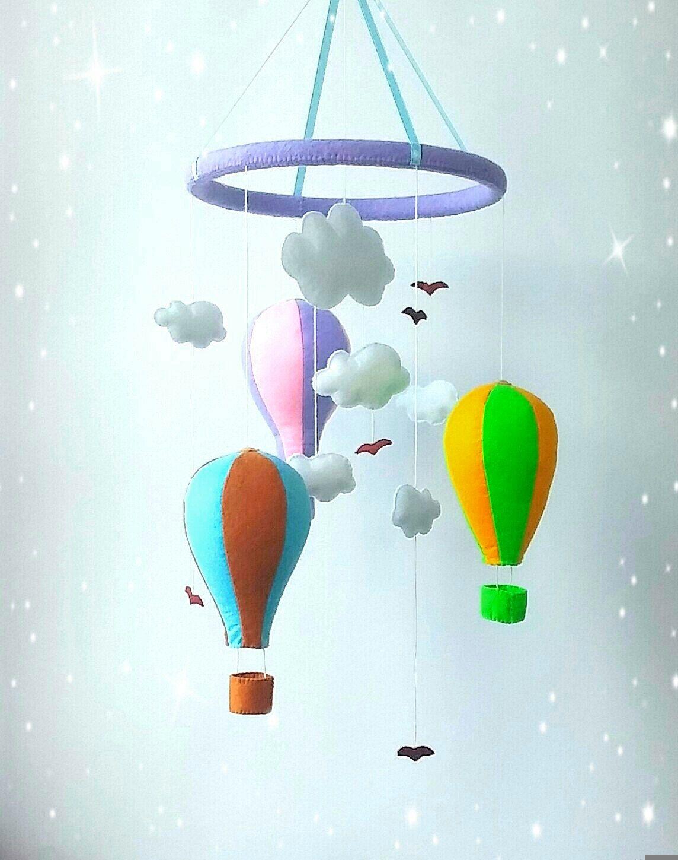 Nursery crib mobile hot air balloon mobile baby mobile