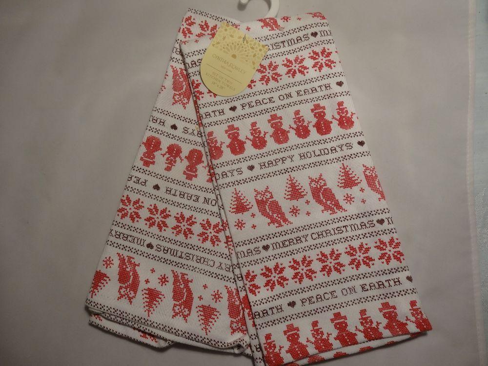 Cynthia Rowley Christmas Holiday Kitchen Towels Set 2 Snowman Owls Snowflake 1 #CynthiaRowley