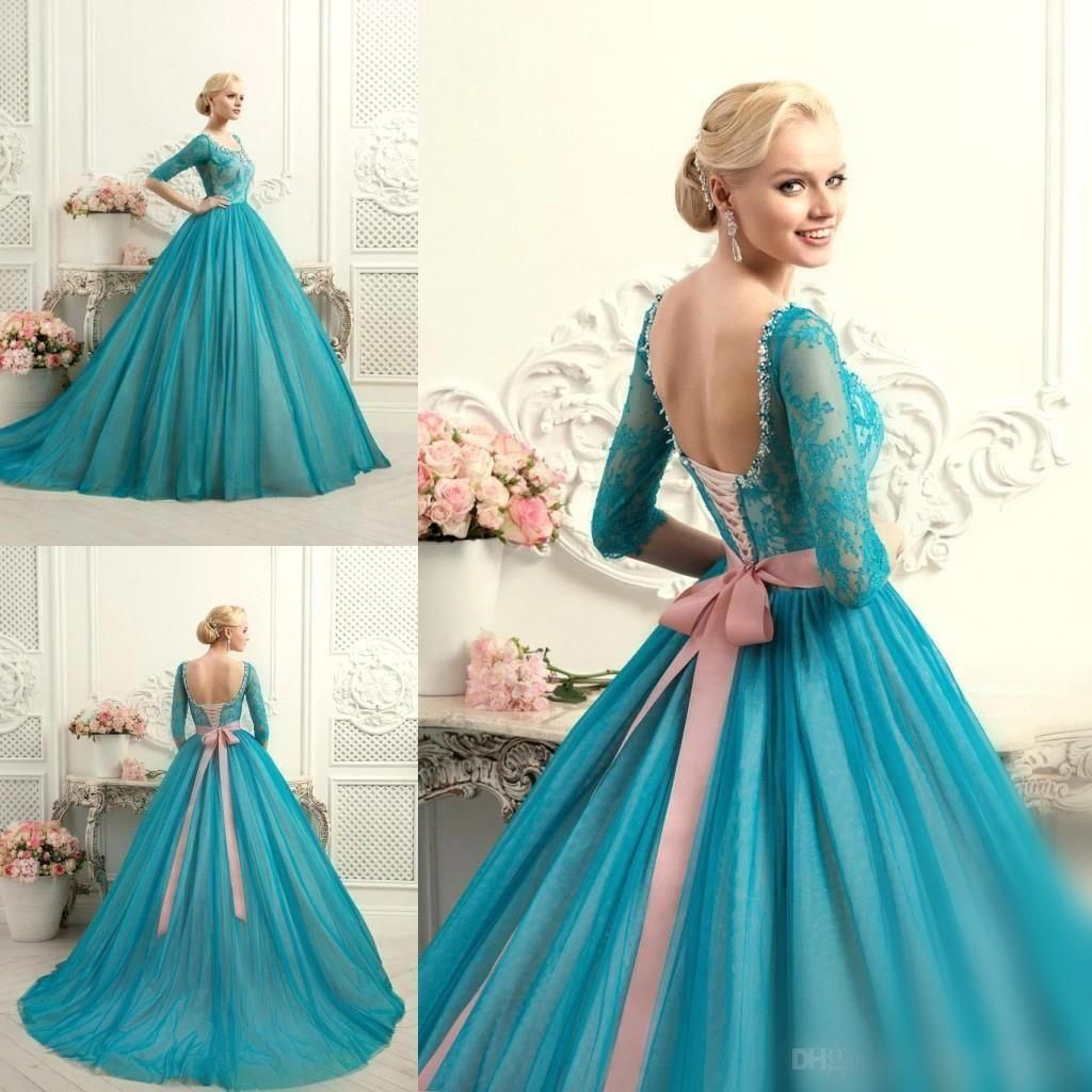 Cheap Elegant Teal Lace and Blush Sash Ball Gowns Quinceanera ...