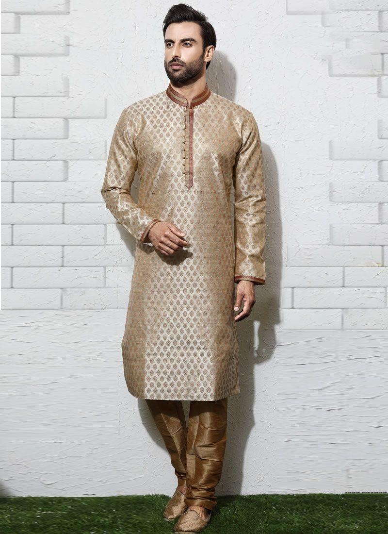 03b38b173a Silver Color Fancy Brocade Kurta Suit Kurta Men, Wedding Sherwani,  Embroidered Silk, Silver