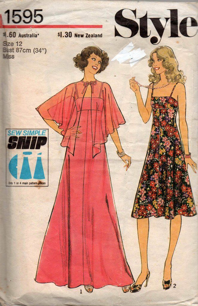 Style 1595 EASY Womens Strappy Sundress or Maxi Dress 70s Vintage ...