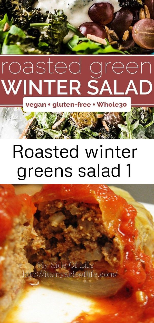 Roasted winter greens salad 1 Roasted Winter Green Salad is filled with crispy kale roasted broccoli and brussels sweet grapes and toasted almonds and tossed in a creamy...