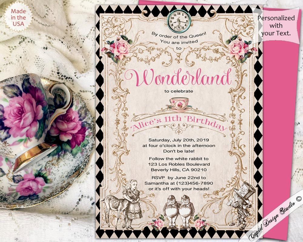 Tea party invitation, Alice in Onederland invitation, Mad hatter ...