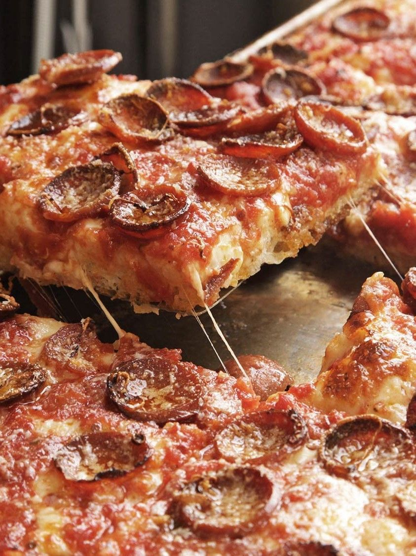 Sicilian Pizza With Pepperoni And Spicy Tomato Sauce Recipe Recipe Sicilian Pizza Food Processor Recipes Food