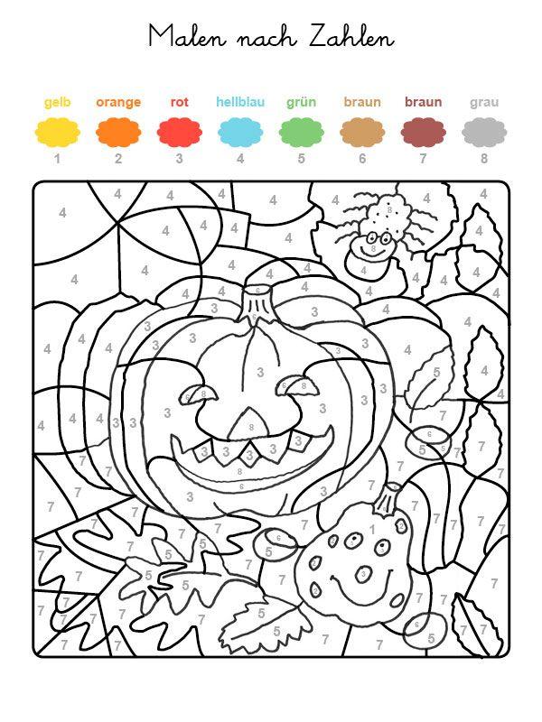 Ausmalbild Malen Nach Zahlen Halloween Kurbisse Ausmalen