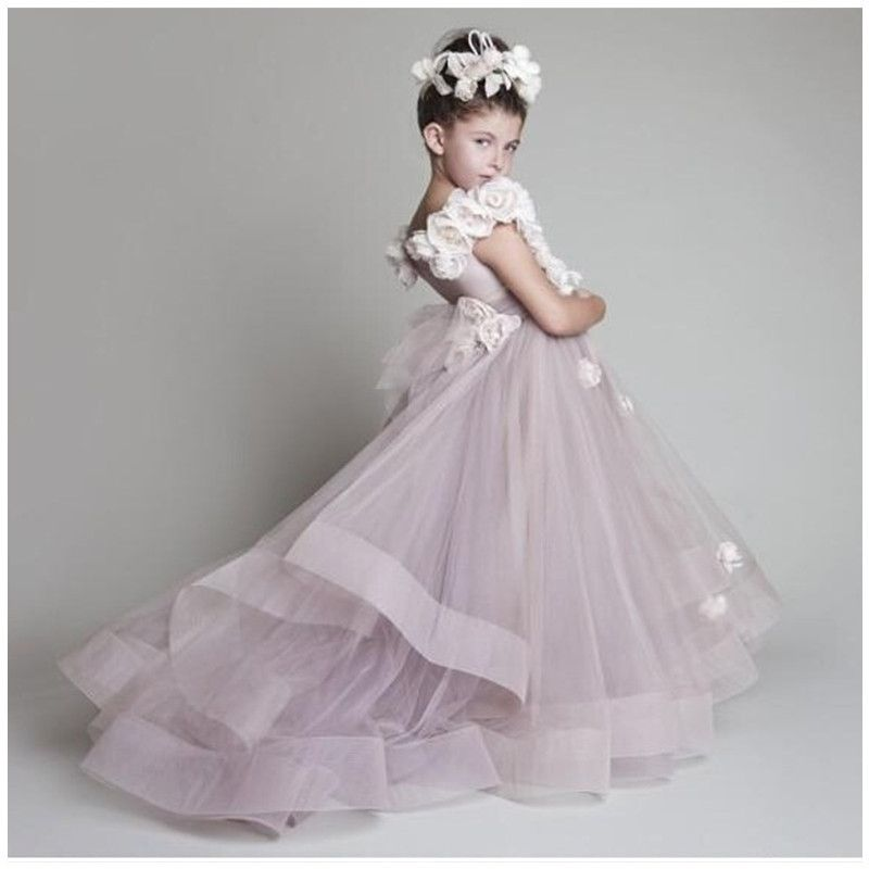 $129.00 (Buy here: http://appdeal.ru/d6uy ) Fascinating Flower Girl Dresses Purple Luxury Bateau Sleeveless Court Train Handmade Flowers Little Girls Pageant Tulle Gowns for just $129.00