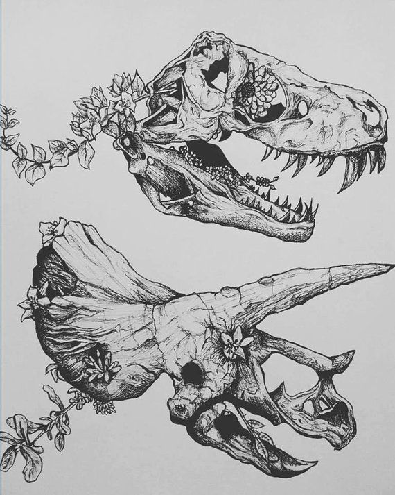 Flowers and Dinosaurs -11X14 Size- Original Ink Art *PRINT*- Ink Art - Illustration/Drawing- Dinosaur Art