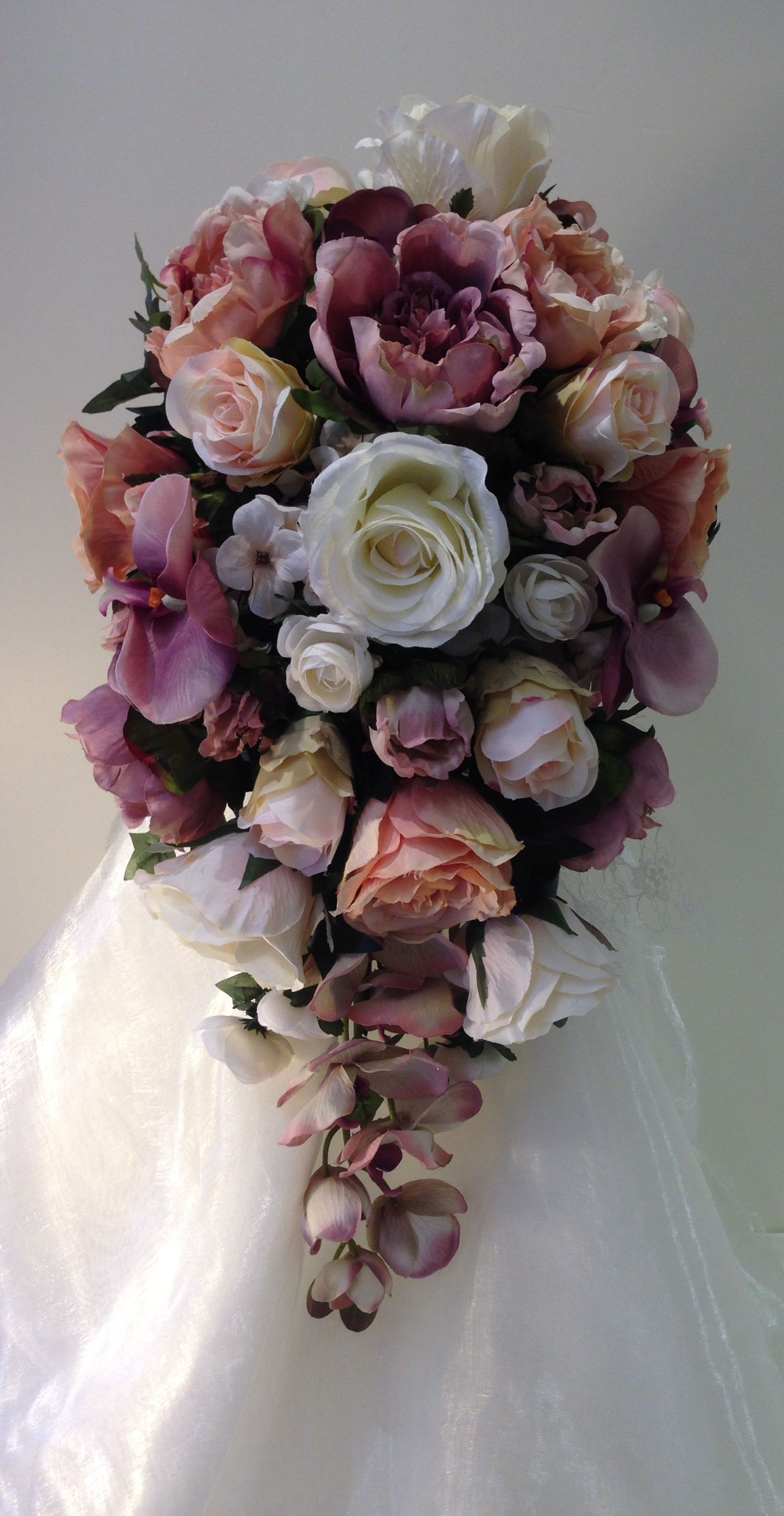 Dusky Peach Mauve Pink And Cream Bridal Bouquet In Everlasting