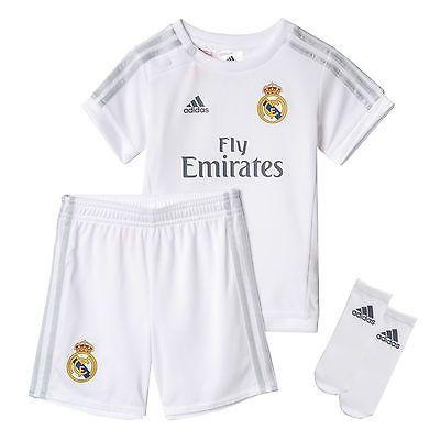 f42ec46ffcc Adidas real  madrid  2015 16 infant baby kids home mini kit  white